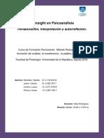 El Insight en Psicoanalisis. Perlaboración, interpretación y autoreflexión