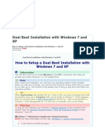 Dual Boot Installation with Windows 7 and XP