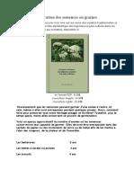 Durée de conservation des semences ou graines
