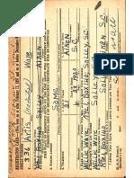 Artis Ware Scott's Grandfather Wwii Registration Card Back