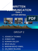 WRITTEN COMMUNICATION - TOPIC 2 LETTER WRITING