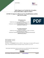 COVID 19 Étude d'impact sur l'activité des très petites entreprises Marocaines et plan de relance