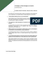 Comunicación Estratégica y el Plan Estratégico en la Gestión