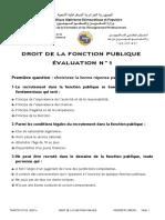 EVALUATION DE DROIT DE LA FONCTION PUBLIQUE