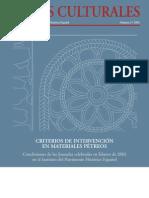 Esbert, R.M. y Losada, J.M. Criterios intervención materiales pétreos. 2003