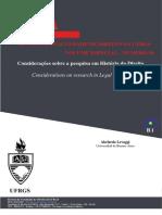 Considerações sobre a pesquisa em História do Direito - Abelardo Levaggi - para ajudar no método