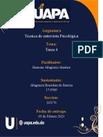 Técnica de Entrevista Psicológica Tarea 4.Altagracia Brazobandocx