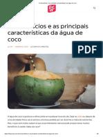 Os benefícios e as principais características da água de coco
