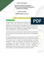 TEMA 9  LA .FAMILIA  LA PRIMERA ESCUELA VALORES  1er  AÑO   III MOMENTO ABRIL - JUNIO 2021