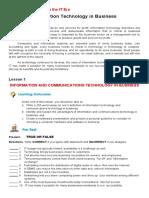 GEE 101 Final Week - Information Technology in Business