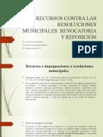 Recursos o impugnaciones a resoluciones Municipales