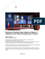 Remarks by President Felipe Calderon of Mexico in celebration of the 100th International Day of Women (In English and Spanish)