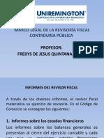 MARCO LEGAL DE LA REVISORIA FISCAL CONTADURÍA PÚBLICA FACULTAD DE CIENCIAS  INFORMES