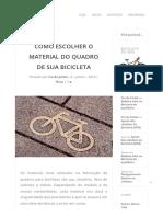 COMO ESCOLHER O MATERIAL DO QUADRO DE SUA BICICLETA - Blog Cia do Pedal