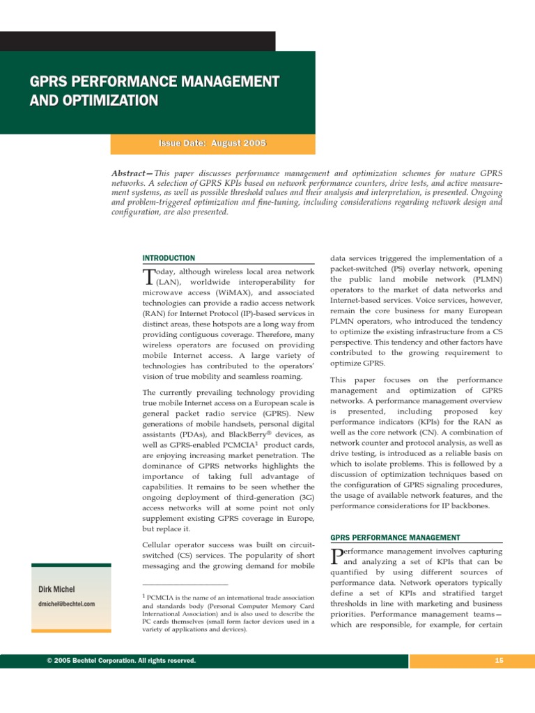 GPRS Performance Management & Optimization | General Packet