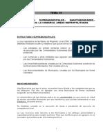Tema 18 Estructuras Supramunicipales.- Mancomunidades.- Agrupaciones La Comarca. Areas Metropolitanas.