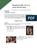 La classificazione delle voci e le tecniche del bel canto