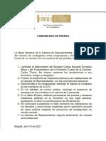 Medidas Cámara de Representantes por covid-19