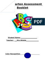 Kindergarten Assessment Booklet
