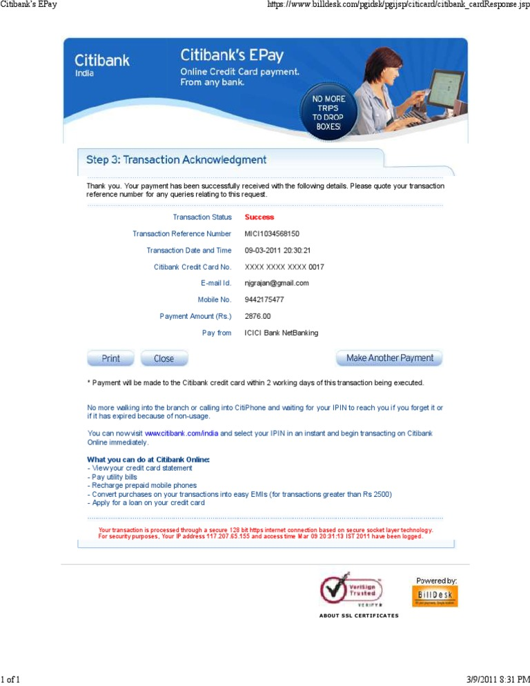 Citibank Credit Card Payment Online >> Citi Financial Transaction Citibank