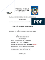 INFORME DE COMPAÑIA MINERA PODEROSA PRACTICAS PRE PROFESIONALES