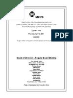 Metro Board of Directors April 2021 meeting agenda