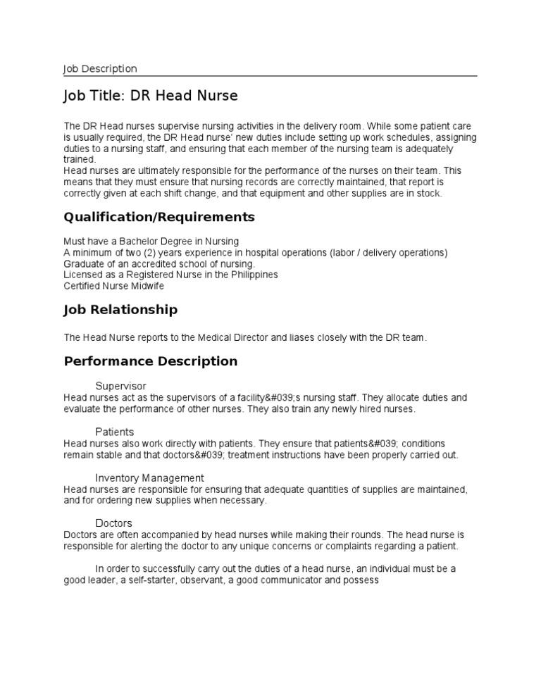 Job Description DR Head Nurse – Nurse Job Description