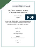 Semana 1. Portafolio. Resumen. Análisis Epidemiológico de Las Fracturas Abiertas de Miembros Inferiores.