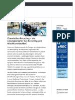 Chemisches Recycling – ein Lösungsweg für das Recycling von Mischkunststoffen? – EU-Recycling