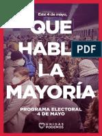 Así es el programa de Unidas Podemos para las elecciones madrileñas
