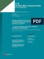 Revue Des Procedures Collectives Juilletaout 2014