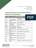 Listado de Direcciones de Unidades Médicas PUNTOS DE VACUNACIÓN