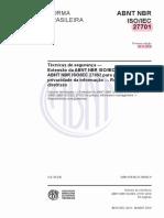 NBR ISO IEC 27701 (2019)
