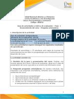 Guía de Actividades y Rúbrica de Evaluación – Paso 1- Reconocimiento Del Curso - Preguntas Orientadoras