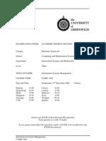 Information Systems Management Exam December 2008 - UK University BSc Final Year