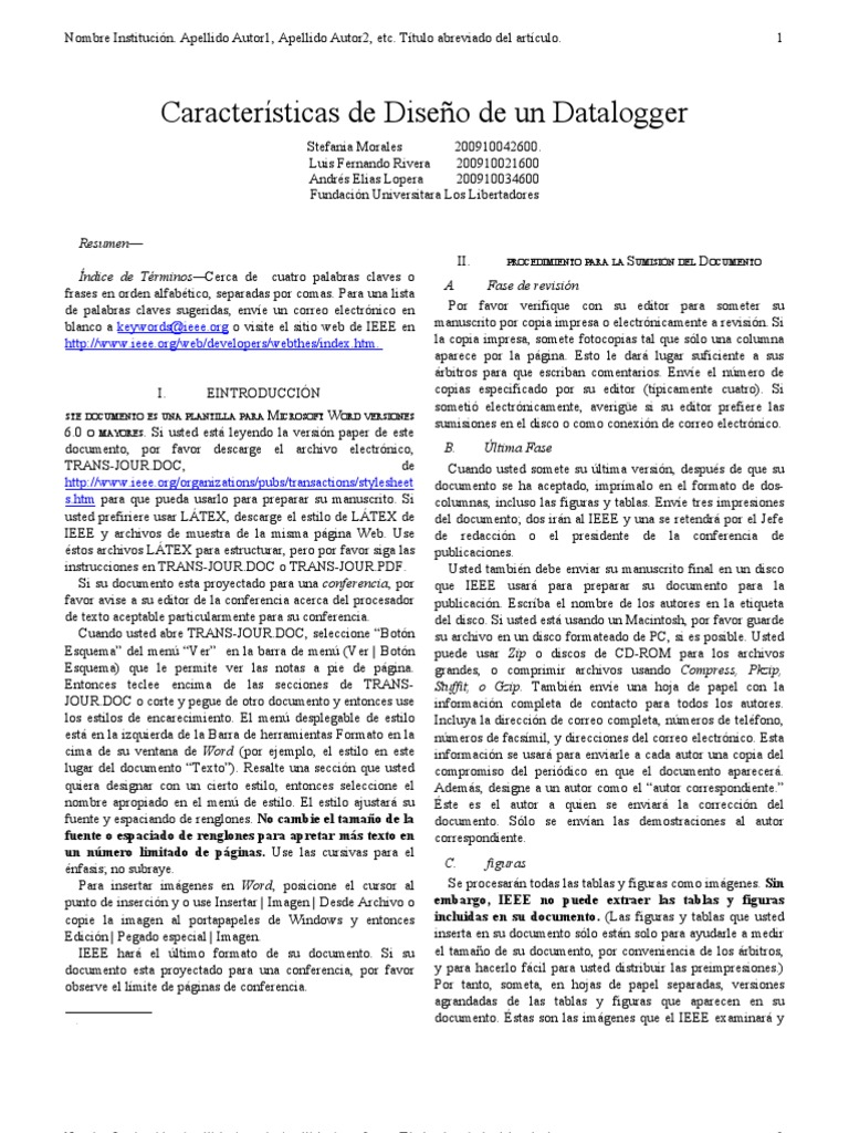 Vistoso Ieee Plantilla Del Diario Bosquejo - Ejemplo De Colección De ...