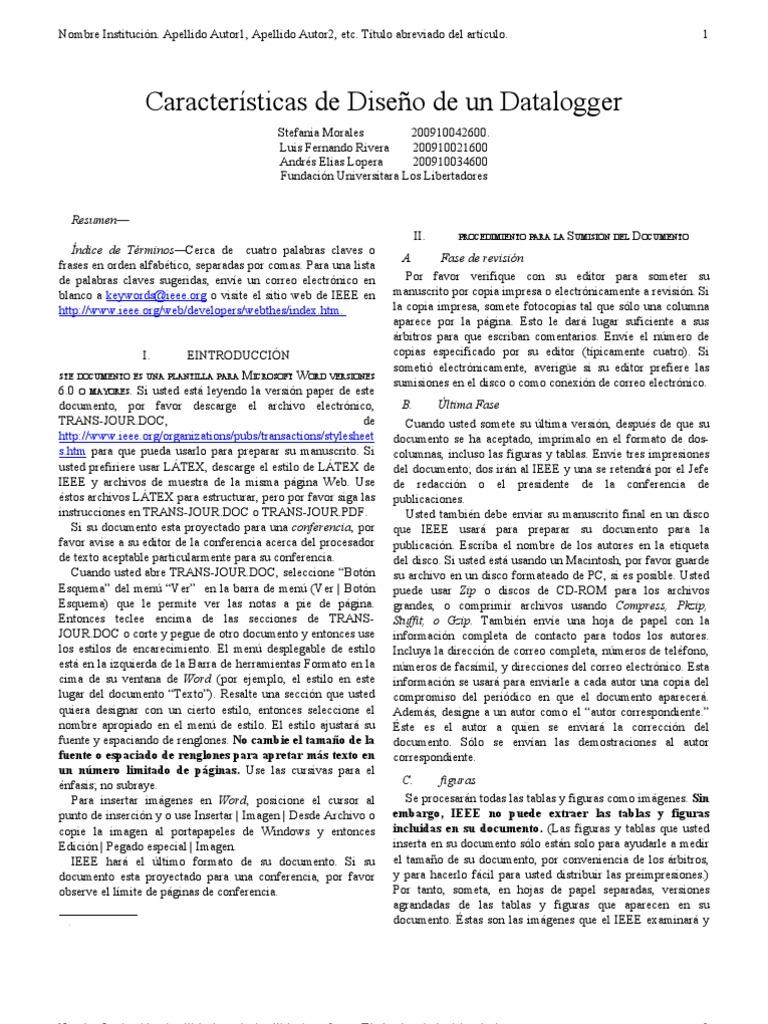 PLANTILLA PARA INFORMES IEEE ESPAÑOL