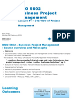 Lecture #1 - Overview of Project Management Monday 28th February 2011 v3 VU
