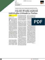 La marcia dei 40mila studenti in gita (virtuale) a Torino - La Stampa del 21 aprile 2021