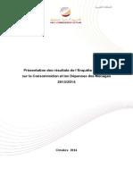 Résultats de l'Enquête Nationale Sur La Consommation Et Les Dépenses Des Ménages 2013_2014 (1)