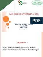 Les Residus Veterinaires 2016