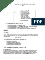 AVALIAÇÃO DIAGNÓSTICA DE LÍNGUA PORTUGUESA 6-7-ano