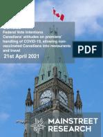 National Vote Intention (April 21, 2021)