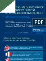 Regards croisés Québec/France sur le genre et l'habitat