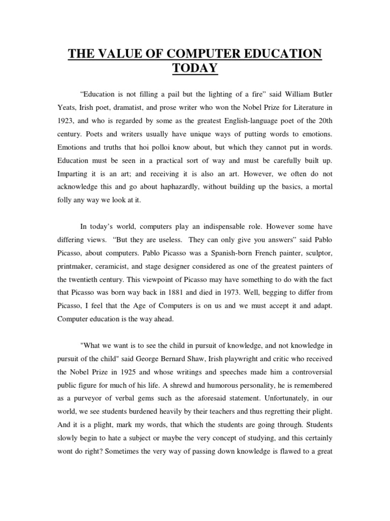essay on importance of computer education in english