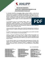 PRONUNCIAMIENTO RECORTE CANON A LAS UNIVERSIDADES PUBLICAS