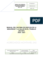 MANUAL DEL SG SST  AGREGADOS MONTANEL SAS - ALEXANRA SUAREZ A - SUPERV SST