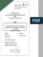 La démarche de mise en place d'un système de management de la qualité selon la norme ISO 9001 version 2008