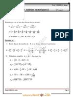 Série d'exercices N°2 - Math Activités numériques II - 1ère AS  (2011-2012)  Mme GUESMIA Aziza