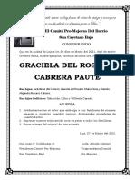 Acuerdo Mortuorio Graciela Cabrera